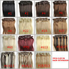 16inch Straight 7pcs/set Clips In On 100% Real Human Hair Extensions Party 80g