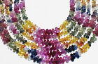 NATURAL GEMSTONE BEAUTIFUL MULTI SAPPHIRE BRIOLETTES FACETED DROPS STRAND 4001