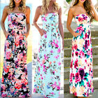 Women's Summer Vintage Boho Long Maxi Evening Party Beach Dress Floral SundressH
