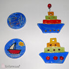 Summer Theme Handmade Ceramic Ornament Tiles - Small Boats and Fishes