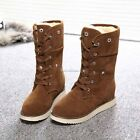 Fashion Women Winter Warm Lace Up Flat Heel Ankle Snow Boot Fleece Lined SH01