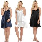Women Sexy Sleepwear Spaghetti Strap Lace Satin Chemises Nightgown Plus SH01
