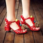 Womens Leather Pom pom Decor Ankle Strap Special Mid Block Heel Shoes Sandals SZ