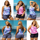 Women Plus Size Retro Oceanic Stripes Colorblock Tie Two Piece Swimsuit Tankini