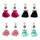Women's Fashion Design Tassel Ball Drop Earrings Silk Fringe Pearl Accents Jewel