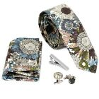 Bundle Monster 4pc Floral Design Matching Pattern Mens Fashion Accessories Set