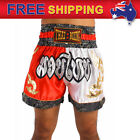 AU New Boxing Shorts Muay Thai MMA Trunks Satin Trousers 2 Tone White Red M-3XL
