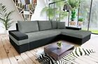 new Bangkok PU leather & fabric corner sofa with bed & storage black grey white