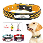 Braided Personalized Dog Collars Leather Engraved Dog Name Phone Free Bell&Tube