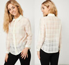 Ladies Semi Sheer Shirt Blouse Top With Cream Check Pattern and Trim Sz 8-14
