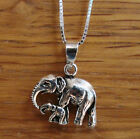 925 Sterling Silver Necklace with Elephant & baby family pendant UK SELLER Boxed