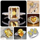 Elegant 925 Sterling Silver Citrine Gem Ring Women Wedding Bridal Jewelry Sz6-10