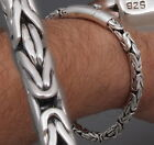 """WOVEN ROUND BALI BYZANTINE KING CHAIN 925 STERLING SILVER MENS BRACELET 8 to 10"""""""