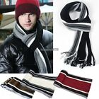 Classic Men's Cashmere Shawl Winter Warm Fringe Striped Tassel Long ED