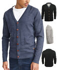 New Mens Cardigan Button Through Knitted Cardi Blue Black Grey S M L XL