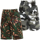Mens Camo Shorts Jogger Fleece Army Jogging Sweat Pants Combat Elasticated Waist