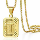 """18""""-30"""" Womens Mens Gold Plated Initial A-Z Letter Pendant Necklace Steel Chain"""