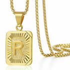 """18""""-30"""" Womens Mens Gold Filled A-Z Initial Necklace Letter Pendant Steel Chain  <br/> OVER 7000 SOLD! Monogram Necklace,Round Box Chain"""