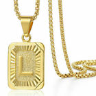 "18""-30"" Womens Mens Gold Plated Initial A-z Letter Pendant Necklace Steel Chain"