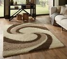 MEDIUM TO EXTRA LARGE THICK CREAM IVORY WHITE BEIGE SWIRL MODERN SHAGGY RUG