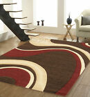 SMALL TO EXTRA LARGE CHOCOLATE BROWN, BEIGE, RED SWIRL MODERN CARVED EFFECT RUG
