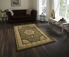 SMALL - EXTRA LARGE GREEN TRADITIONAL CLASSIC THICK DENSE LUXURY WOOL-LOOK RUGS