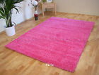 SMALL - EXTRA LARGE PINK THICK 5cm PILE PLAIN MODERN NON-SHED SOFT SHAGGY RUG