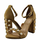 Women Shoe Delicious Sheryl Open Toe Pearl Embellished Chunky Heel Natural *New*