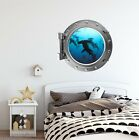 Shark #2 Porthole 3D Window Wall Decal Sticker Ocean Sea Wall Art Kids Decor