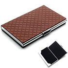 Business Card Holder Rerii Leather Surface Stainless Steel In Embossing Coffee