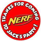 PERSONALISED NERF GLOSS BIRTHDAY PARTY,STICKERS,SWEET CONE LABELS 4 SIZES