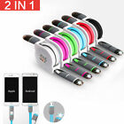 usb iphone connector - 2 In1 USB Stretch Sync Cable Charging Retractable Connector For iPhone Android R
