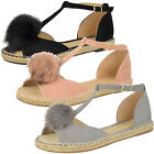Ladies Fur Pom Pom Peep Toe T-Bar Flat Espadrille Sandals Size  Womens