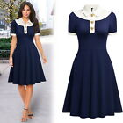 Women's Retro Navy Style Elegant Business Office Casual Flare A-Line Swing Dress
