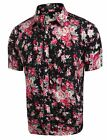 Mens Casual Short Sleeve Slim Floral Print Button Down Shirt coofandy s men