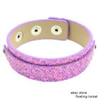 10pcs 18*210mm + 8mm Sequin PU Leather Wristbands Fit 8mm Slide Letters/Charms