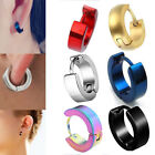 1Pair Punk Mens Women Stainless Steel Hoop Huggies Ear Stud Earrings Gothic image