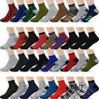 12 Pairs Men's Ankle Low Cut Socks - For Men Shoe Size 8-12 - 10+ Styles