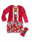 Zaza Couture 2pc Girls Dress & Tights Hot Pink Ivory Rosettes School NWT 4T 4