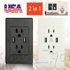 2 Outlet 2 USB Port Wall Socket Charger AC Power Receptacle Plate Panel