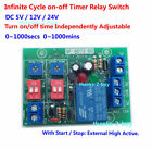 DC5V 12V 24V Cycle Time Timer Switch Delay Relay ON OFF Repeat 1-1000mins adjust