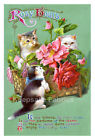Kittens Perfume Of Roses Crazy Quilt Block Multi Size FrEE ShiPPinG WoRld WiDE