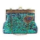 Handmade Vintage Peacock Clutch Beaded Embroidered Evening Handbag Wedding bag