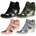 WOMENS SHOES LADIES WEDGE PUMPS HIGH TOP TRAINERS ANKLE BOOTS STRAP METALLIC NEW