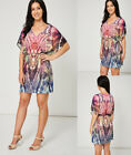 Pink Blue Purple Abstract Print Summer Belted V-Neck Casual Dress Ex-Branded