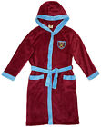 Boys Dressing Gown Fleece WEST HAM United Official Hooded Bathrobe 7 to 13 Years
