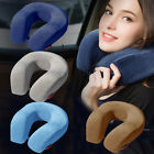 Travel Neck Pillow Memory Foam Large Soft U Shaped Car Head Rest Support Blue