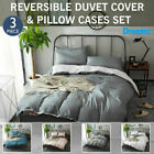 Reversible 1000TC Microfibre Quilt Doona Duvet Cover Set Double Queen King