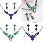 Ladies Fashion crystal Gold Party collar pendant Necklace set