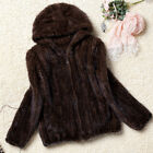 High Quality 100% Real Genuine Knitted Mink Fur Hood Coat Jacket Outwear New